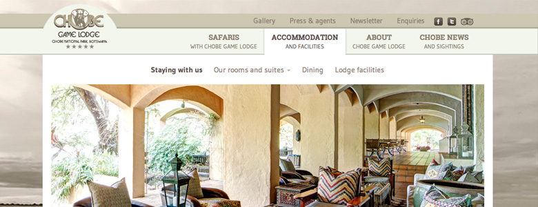 Website for Chobe Game Lodge